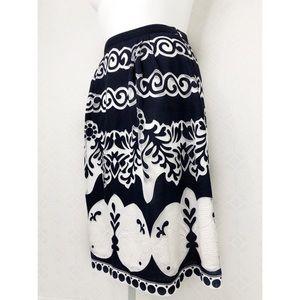 💜J.Crew Blue & White Midi skirt in ornate lace